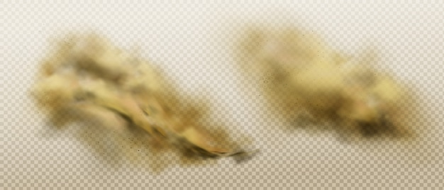 Schmutzige staubwolken aus fliegendem sand und erde