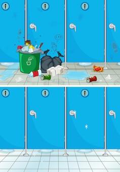 Schmutzige und saubere badezimmerszene