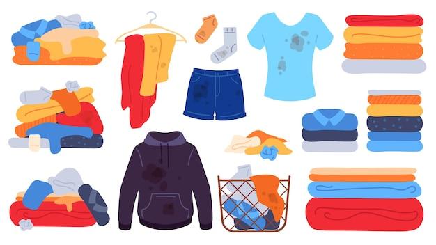 Schmutzige und saubere kleidung. flacher wäschekorb, jeans, t-shirt und socken mit flecken. schmutzige kleidung stapelt sich, handtücher stapeln sich. waschen vektor-set. abbildung: schmutzige kleidung abbildung haufen