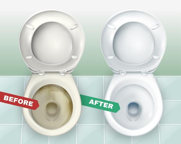 Schmutzige und saubere toiletten