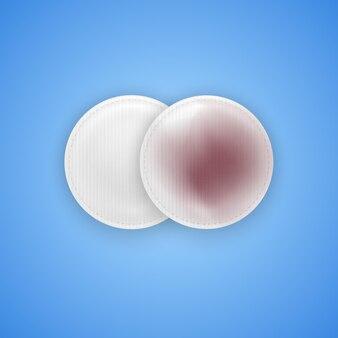 Schmutzige und saubere wattepads zur make-up-reinigung