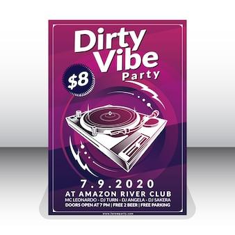 Schmutzige vibe party plakat vorlage
