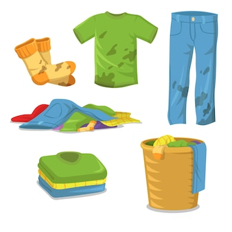 Schmutzige wäscheschritte