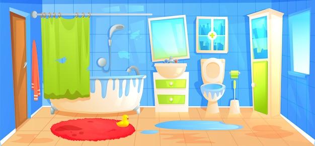 Schmutziger badezimmerdesigninnenraum mit keramischer möbelhintergrundschablone.