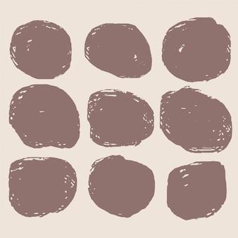 Schmutziger kreisförmiger grunge-fleck-satz von neun