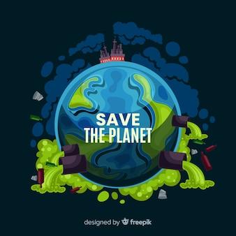 Schmutziger planetenerde-karikaturhintergrund