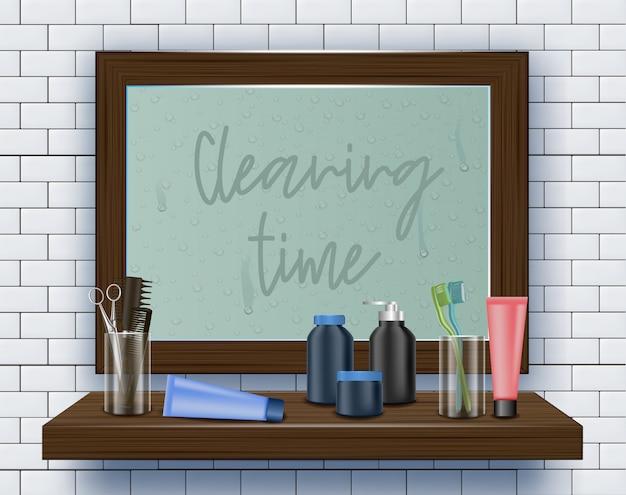 Schmutziger spiegel auf badezimmerwand. reinigungszeit.