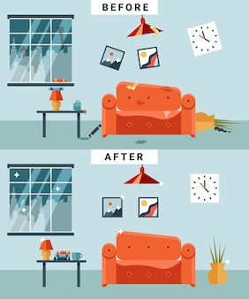 Schmutziger und sauberer raum vor und nach der reinigung. müll und unordnung, tasse und bild, unorganisierte comic-wohnung.