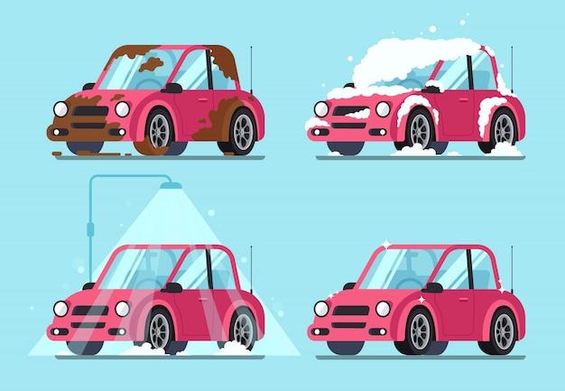 Schmutziges auto waschen