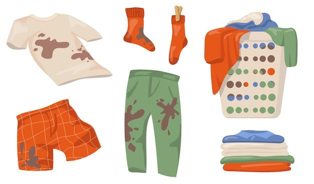 Schmutziges kleidungsset. t-shirts und socken mit schlammflecken, kleiderstapel im wäschekorb, saubere wäsche isoliert. flache vektorillustrationen für hauswirtschafts-, sauberkeitskonzept