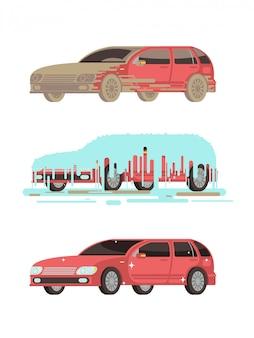 Schmutziges und sauberes auto.