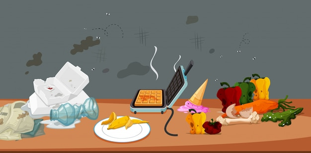 Schmutziges und verschimmeltes essen und müll