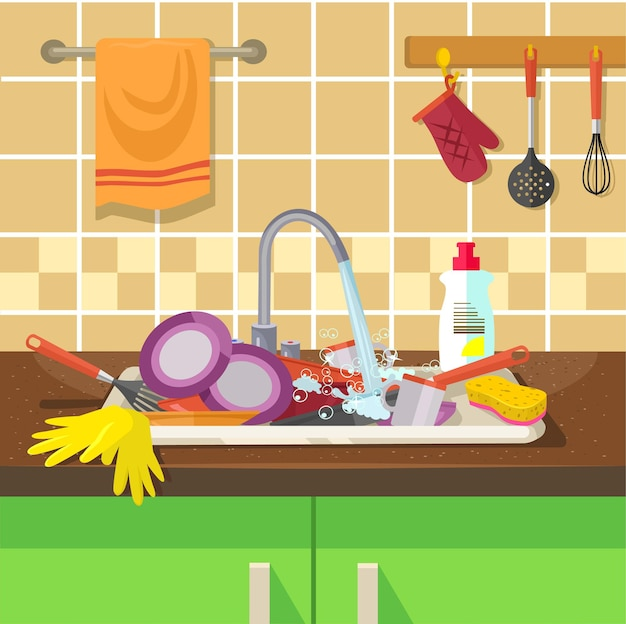 Schmutziges waschbecken mit küchengeschirr.