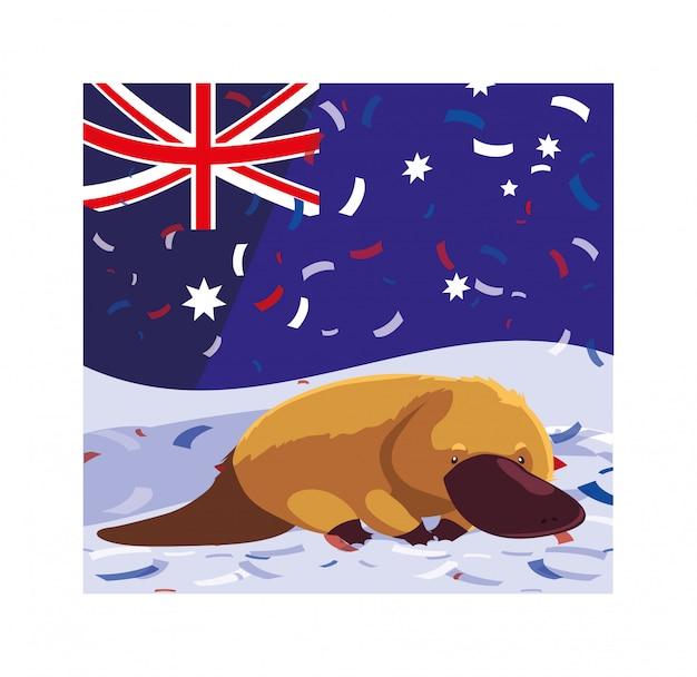 Schnabeltier mit australischer flagge
