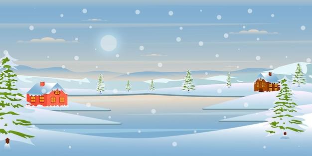 Schnappen sie sich dieses erstaunliche design der winterlandschaft tapete