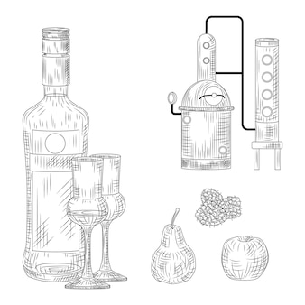 Schnaps-set. deutschland traditionelles alkoholisches getränk. flasche, glas, destillierkolben, himbeere, apfel, birne vintage gravierte vektorillustration
