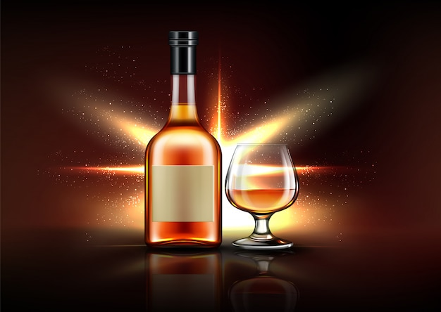 Schnapsflasche und glas