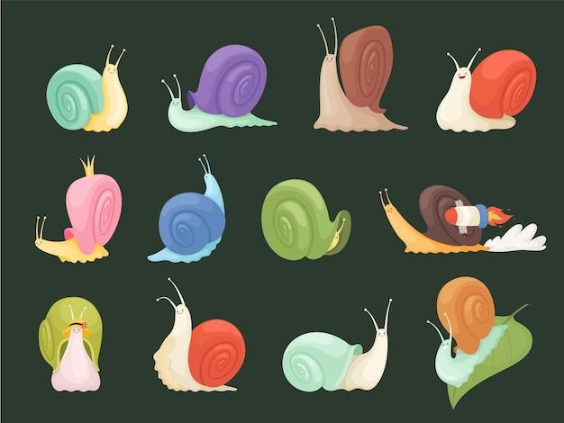 Schnecken charaktere. karikaturinsekten mit schleimillustration der spiralhausschalenschnecke.