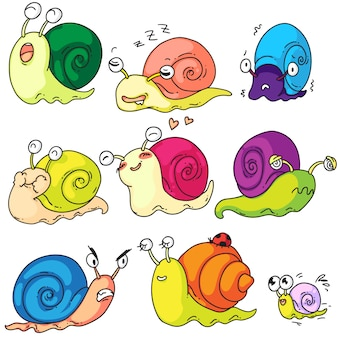Schneckenset. niedliche karikaturschneckenfigur und molluskenkind mit schale auf weißem hintergrund eingestellt. lustige kreatur, die verschiedene emotionen zeigt. schnecken-schritt-schnecken-maskottchen-illustration