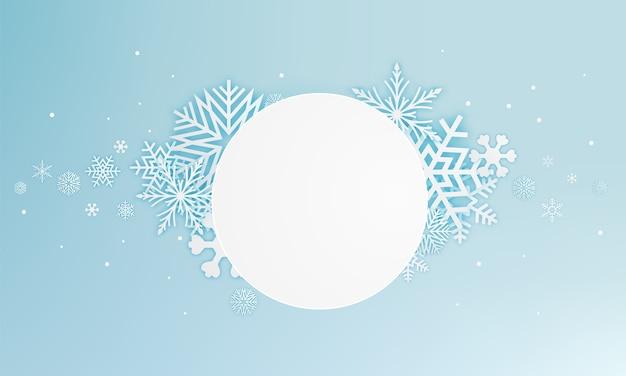 Schnee blättert papierkunstzusammenfassungshintergrund-vektorillustration ab