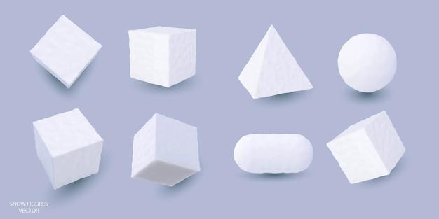 Schnee geometrische formen würfel kugel zylinder