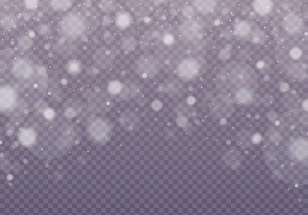 Schnee, glänzendes bokeh lokalisiert auf transparentem hintergrund.