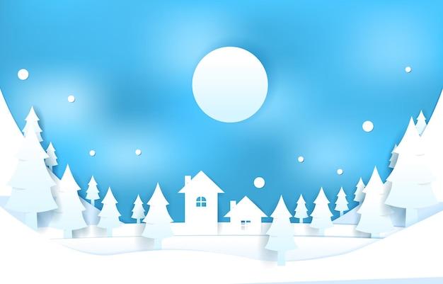 Schnee haus kiefern winter papercut scherenschnitt stil illustration