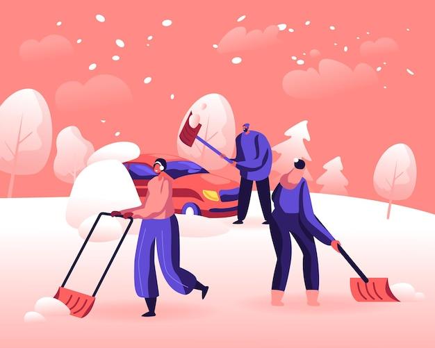 Schnee- und eisentfernung nach blizzard-konzept. karikatur flache illustration