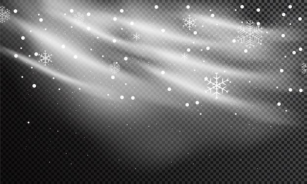 Schnee und wind auf einem transparenten hintergrund. dekoratives element mit weißem farbverlauf, winter und schnee mit nebel.