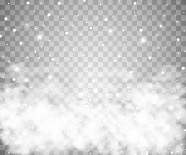 Schnee und wind auf einem transparenten hintergrund. dekoratives element mit weißem farbverlauf.