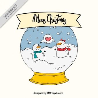 Schneeball-hintergrund mit hand gezeichnet schneemänner paar