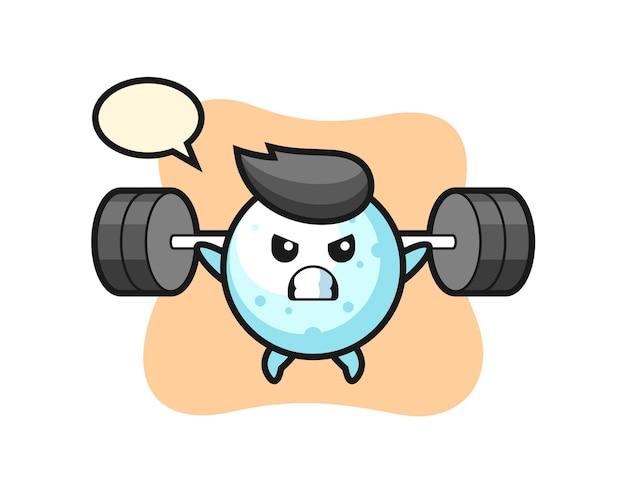 Schneeball-maskottchen-cartoon mit einer langhantel, süßes design für t-shirt, aufkleber, logo-element