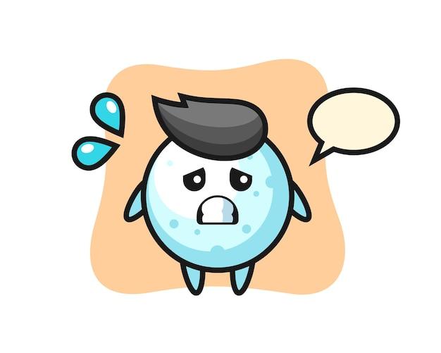 Schneeball-maskottchen-charakter mit ängstlicher geste, süßem stildesign für t-shirt, aufkleber, logo-element