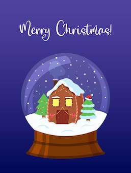 Schneeball mit geschmücktem haus und bäumen weihnachtsgrußkarte kristallschneeball isoliert