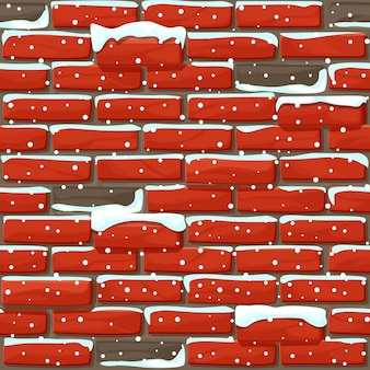 Schneebedeckte backsteinmauer textur nahtlos. illustration steine wand. nahtloses muster.
