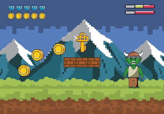 Schneebedeckte berge mit dämoncharakter und schlüssel mit münzen