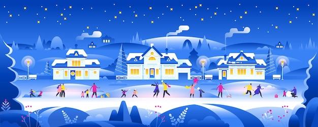 Schneebedeckte nacht mit leuten im gemütlichen stadtstadtpanorama