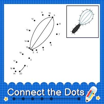 Schneebesen kinder verbinden das punkt-arbeitsblatt für kinder, die die nummern 1 bis 20 zählen