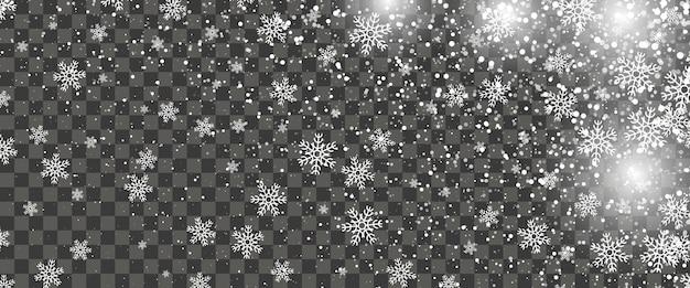 Schneefälle und fallende schneeflocken auf transparentem hintergrund. weiße schneeflocken und weihnachtsschnee. vektor-illustration