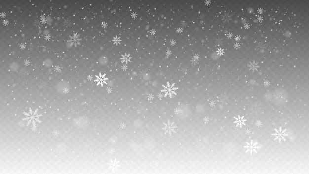 Schneefall, realistischer fallender schnee, schneeflocken in verschiedenen formen und formen.