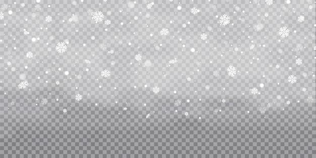 Schneefall, schneeflocken in verschiedenen formen und formen. schneeflocken, schneehintergrund. weihnachtsschnee für das neue jahr. weißer schnee fliegt auf transparent