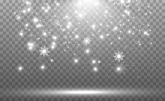 Schneefall. viel schnee auf transparentem hintergrund. schneeflocken fallen vom himmel.