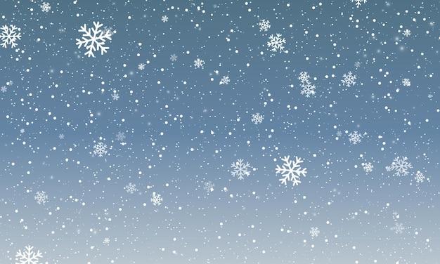 Schneeflocke-hintergrund. fallender schnee. vektor-illustration. schneefall himmel. weihnachtswinterhintergrund.