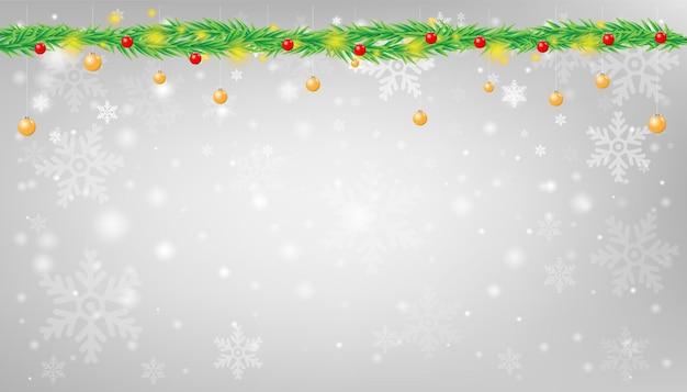 Schneeflocke mit weihnachtsgirlandenhintergrund-vektorillustration