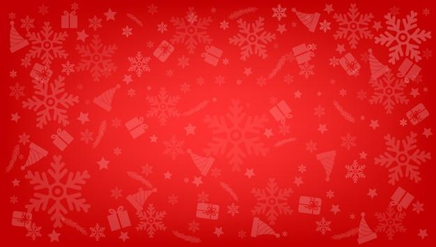 Schneeflocke mit weihnachtsobjekthintergrund-vektorillustration
