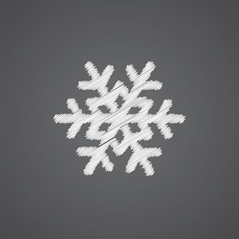 Schneeflocke-skizze-logo-doodle-symbol auf dunklem hintergrund isoliert