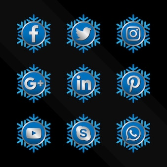 Schneeflocke-social-media-icon-set