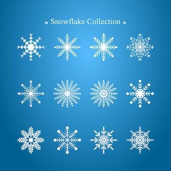 Schneeflocke-vektor-design-kollektion. netter winterschneeflockevektor. dekorative elemente für die winterzeit. weihnachtsdekorationselement.