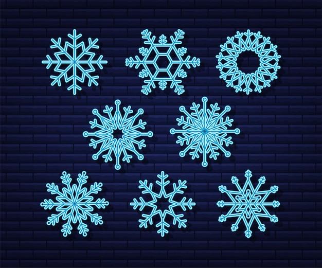 Schneeflocke-vektor-icon-hintergrund-set weiße farbe winter blau neon-weihnachts-schneeflocke