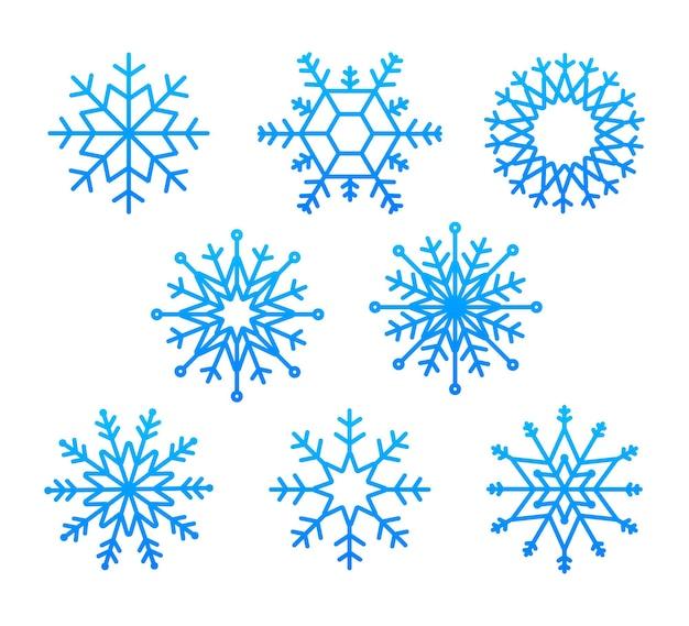 Schneeflocke-vektor-icon-hintergrund-set weiße farbe winter blau weihnachten schneeflocke-kristall-element